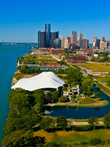 Riverfront view of Detroit